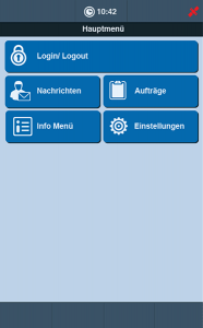 Fuhrparkmanagement Software TISLOG mobile Smart: Software-Dialog Hauptmenü