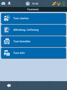 Transport Management-System TISLOG mobile Enterprise: Software-Dialog Tourmenü